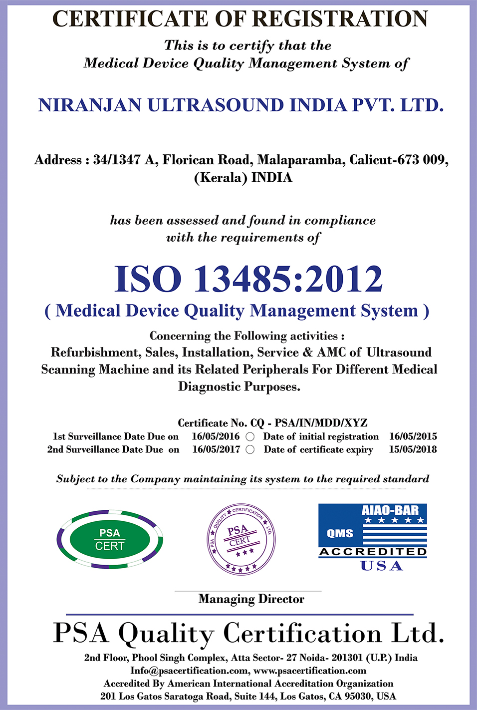 Niranjan Ultrasound India Iso Certificate 134852012 Quality