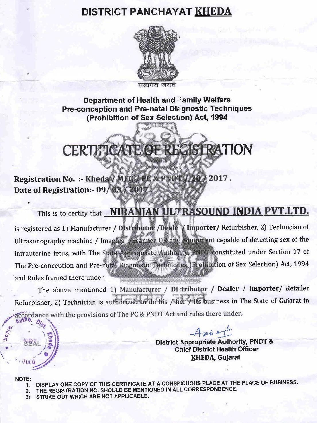 Kedha PNDT Certificate